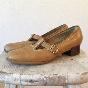 50s Leather Penny Loafer Block Heel Mary Jane